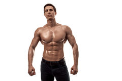 Muscular handsome young man with naked torso. Isolated on white background. Copy space Stock Images
