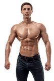 Muscular handsome young man with naked torso. Isolated on white background. Studio shot on white background Royalty Free Stock Photo