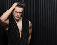 Muscular Hunk Runs Fingers In Hair Royalty Free Stock Photos