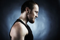 The muscular male back on black background Royalty Free Stock Photography