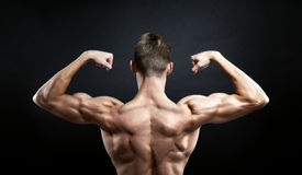 Muscular male back on black background Stock Photography