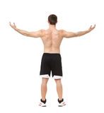 Muscular male back isolated on white background. Royalty Free Stock Images