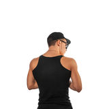 Muscular male from behind in studio Stock Images