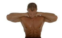 Muscular male body builder. Posing stock photo
