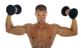 Muscular male body builder. Posing stock images