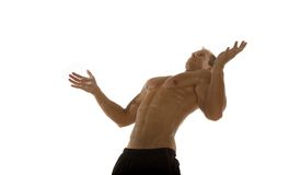 Muscular male body builder. Posing royalty free stock photography