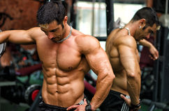 Muscular male bodybuilder resting in gym during workout. Muscular, shirtless male bodybuilder resting in gym during workout showing muscular torso, pecs and abs Royalty Free Stock Images