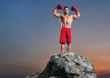 Muscular male boxer training outdoors Royalty Free Stock Image