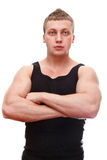 Muscular male with clasped hands Royalty Free Stock Images