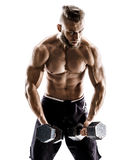 Muscular male does the exercises with dumbbells on white background. Royalty Free Stock Photo