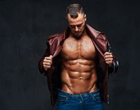 Muscular male dressed in a jacket and jeans. Studio portrait of shirtless muscular male dressed in a jeans and a leather jacket on naked torso over grey Royalty Free Stock Photos