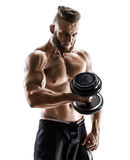 Muscular male with dumbbell isolated on white background. Photo of strong male with naked torso. Strength and motivation Royalty Free Stock Photography