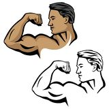 Muscular male flexing bicep arm muscle, pose with head sideways, vector illustration. Male fitness bodybuilder model, flexing arm, huge bicep muscle, head turned vector illustration