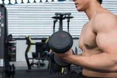 Free Muscular Male Having Pain On Shoulder In Gym. Young Man Injure Stock Photo - 101815250