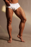 Muscular male legs. Male legs veiny and muscular in white underwear Stock Photos