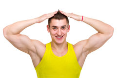 Muscular male model with great happy smile Royalty Free Stock Images