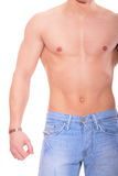 Muscular male torso. Isolated on white Stock Photo