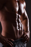 Muscular male torso. Isolated on black Stock Image