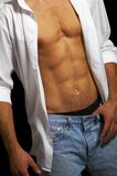 Muscular male torso. On a black background royalty free stock photos