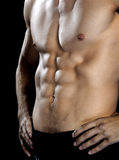 Muscular male torso. On black Stock Photo