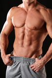 Muscular male torso. On a black background Stock Image
