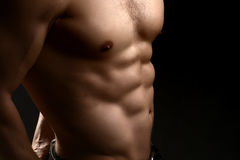 Muscular male torso. Closeup view of one handsome sexual strong young male bare chest of muscular body standing posing on studio background, horizontal picture Stock Images