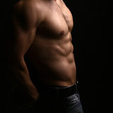 Muscular male torso. Closeup view of one handsome sexual strong young male bare chest of muscular body standing posing on studio background, square picture Stock Image