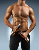 A muscular male torso with dumbbells Stock Photography