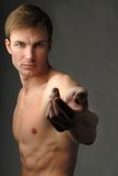 Muscular male torso  and hand Stock Image