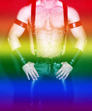 Muscular male torso in leather with rainbow colors for gay pride Stock Photography