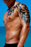 Muscular Male Torso. A man with a beautiful muscular body with tattoo relaxing on the beach Royalty Free Stock Photos