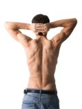 Muscular man. Back of sexy muscular man, isolated on white Stock Photo
