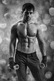 A muscular man on a background of bokeh Stock Image