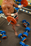 Muscular man with a bar weights in hands training Royalty Free Stock Photography
