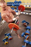 Muscular man with a bar weights in hands training Royalty Free Stock Photos