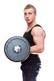 Muscular man with barbell in hands Royalty Free Stock Image