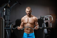 Muscular man with barbell royalty free stock image