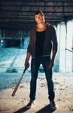 Muscular man with baseball bat Royalty Free Stock Photos