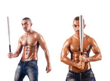 The muscular man with baseball bat on white Stock Images
