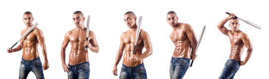 The muscular man with baseball bat on white Stock Image