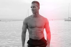 Muscular man at the beach Royalty Free Stock Images