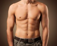 Muscular man. Beautiful male torso. Muscular man Royalty Free Stock Photo