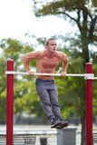 Handsome muscular man doing pull-ups on horizontal bars on a park background. Street sports concept. Royalty Free Stock Photo