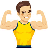 Muscular Man Biceps. Attractive young muscular man flexing biceps and smiling happy vector illustration