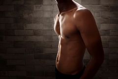 Muscular man body. With brick wall background Royalty Free Stock Photo