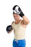 Muscular man boxing Stock Photo