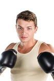 Muscular man boxing Stock Image