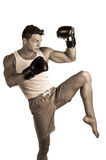 Muscular man boxing Stock Images
