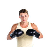 Muscular man boxing Royalty Free Stock Photo