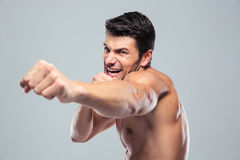 Muscular man boxing Royalty Free Stock Image
